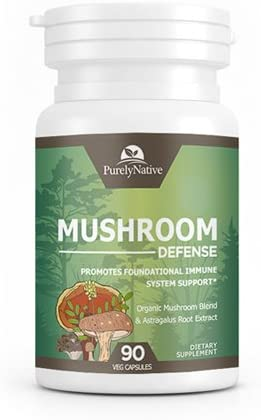 Mushroom Defense - Powerful Organic Multi Mushroom Complex Supplement, Supports Overall Immune System Health with Turkey Tail, Lion's Mane, Maitake, Reishi, and Cordyceps, Non-GMO Vegan