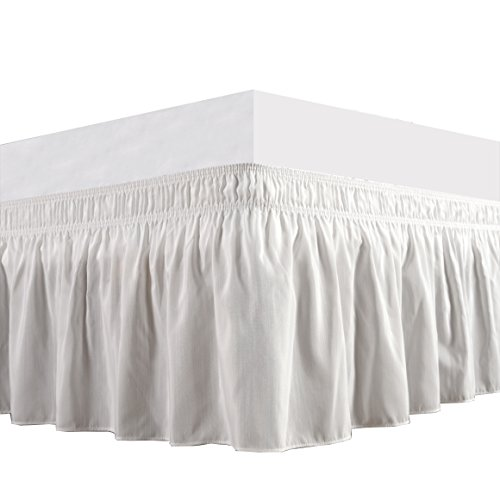 Biscaynebay Wrap Around Bed Skirt, Elastic Dust Ruffle, Easy Fit Wrinkle and Fade Resistant Durable Fabric, Ivory, King (Full Size King Size Footboard)