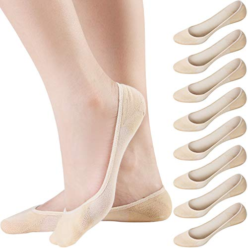 Areke Womens Cotton Ultra Low Cut Hidden Liner Socks, No Show Non Slip Invisible Flats Boat Soxs 8-Pack (Beige Size 8-12)
