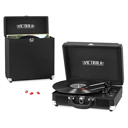 - Victrola Record Player Bundle Includes a 3-Speed Turntable, Record Storage Case and Replacement Needles