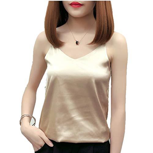 HSBUY Women's V Neck Camisoles Sexy Camisoles for Women Silk Top for Ladies Beige ()