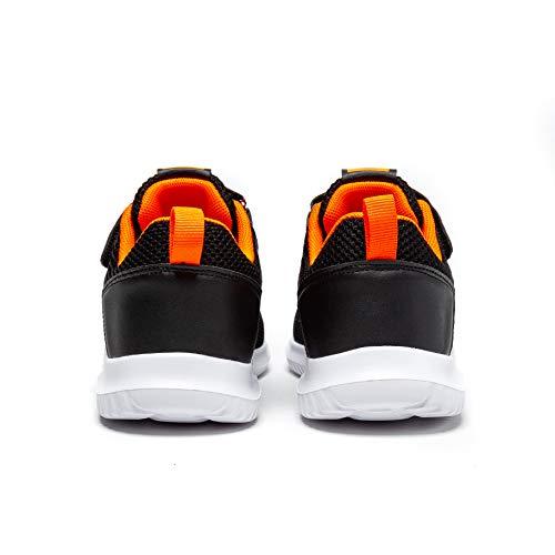 BONDON Black Orange Toddler Little Big Kids Boys Girls Knit Mesh Sneakers Unisex Running Shoes