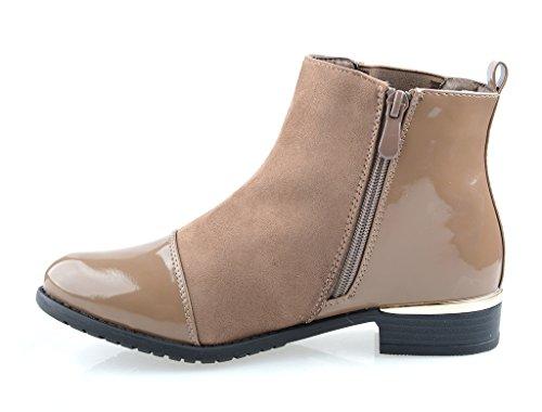 Eyekepper Women 's Fashion brillante y superior de gamuza tacon botas de tobillo cremallera lateral apilados Khaki