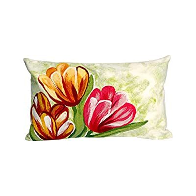 Liora Manne 7S01SA36924 Mystic III Blooms Warm Indoor/Outdoor Pillow - Indoor/Outdoor Use 100% Polyester Hand wash with mild detergent Allow to Air dry thoroughly - patio, outdoor-throw-pillows, outdoor-decor - 41THCo F5iL. SS400  -