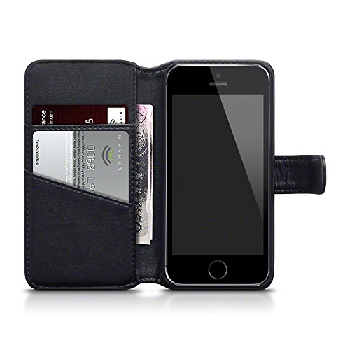 iPhone SE Cover, Terrapin di Vera Pelle Della Cassa del Raccoglitore per iPhone SE Custodia Pelle, Colore: Nero