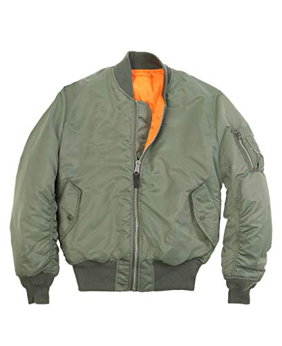 Alpha Industries Men's MA-1 Slim Fit Flight Bomber Jacket, Sage, Small