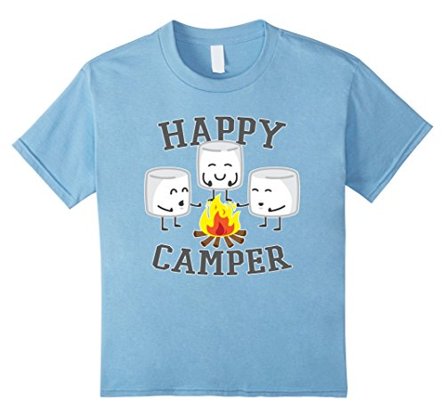 Kids Marshmallows Happy Camper T-shirt 10 Baby Blue