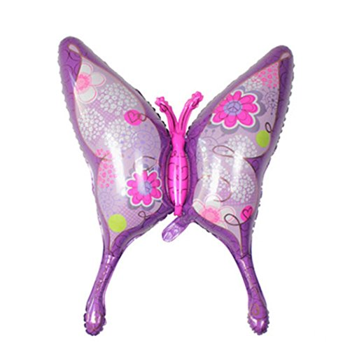 Gbell Beautiful Pink Purple Butterfly Foil Balloon - Baby Girls Women Birthday Party Decorations - Wedding Anniversary Party Supplies (Purple)]()
