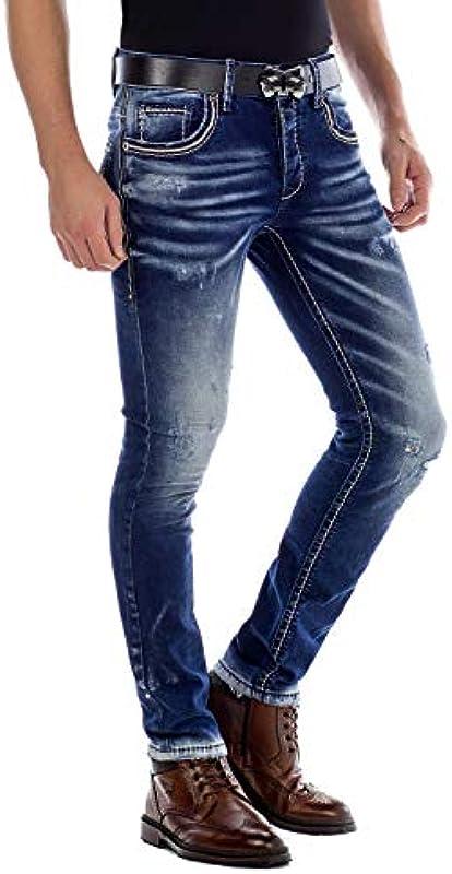 Cipo Baxx dżinsy męskie spodnie Ripped Denim Straight Fit Used Look Destroyed spodnie niebieskie W31 L34: Odzież