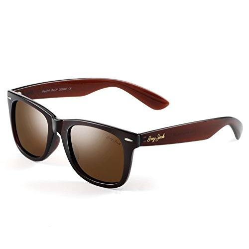 GREY JACK Classic Polarized Retro Way farer Square Horn Rimmed Design Sunglasses for Men Women Brown -