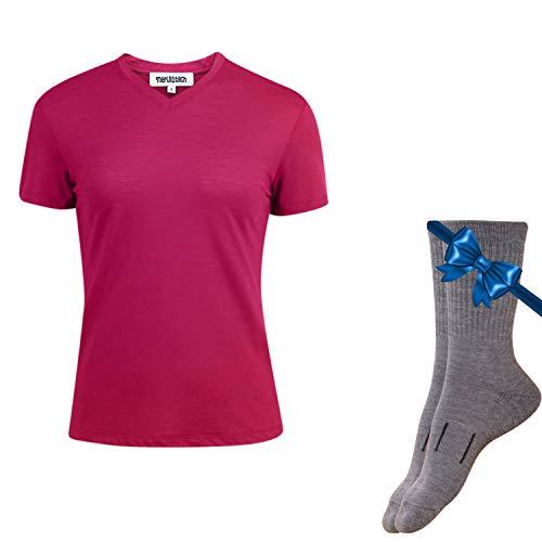 Merino.tech 100% NZ Organic Merino Wool Lightweight Women's T-Shirt + Merino Wool Hiking Socks Bundle | Short Sleeve Crew Tee | Moisture Wicking | No Odor | UPF 25 (Large, -