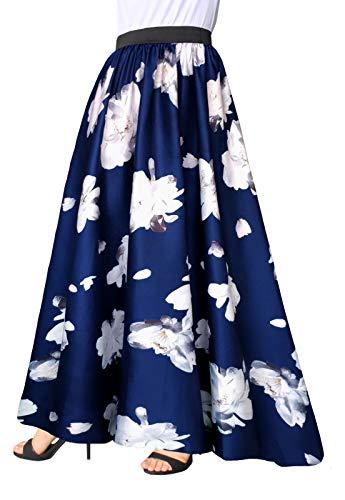 - Afibi Women Chiffon Mopping Floor Length Big Hem Solid Beach High-Waist Maxi Skirt (Medium, Color 2)