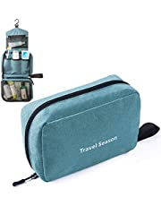 Hanging Travel Toiletry Bag, Compact Make up Organiser Cosmetic Pouch Business Handbag for Men and Women, Portable and Waterproof Bathroom Bag with 3 Department to Organise Toiletries. Personal Care Hygiene Purse
