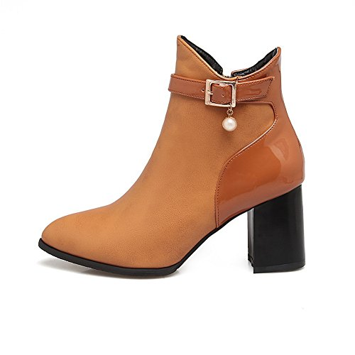 BalaMasa Womens Dress Pointed-Toe Buckle Grommets Urethane Boots ABL10095 Yellow Shnn0f9lgu