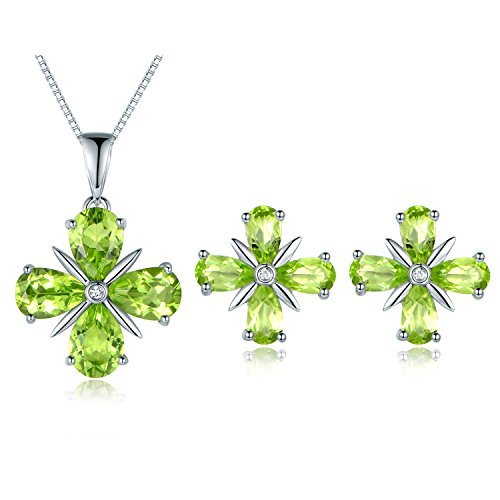 JiangXin el trébol de cuatro hojas la arracada Juegos de joyas de 925 plata y de olivino natural regalo para Día San Vanlentín Collar Colgante pendiente