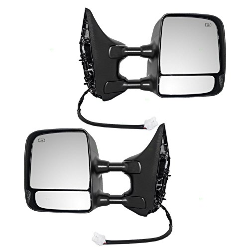 Tow Power Side View Mirrors Heated Telescopic Dual Arms Pair Set Replacement for 04-15 Nissan Titan Pickup Truck 96302ZR00E 96301ZR00E