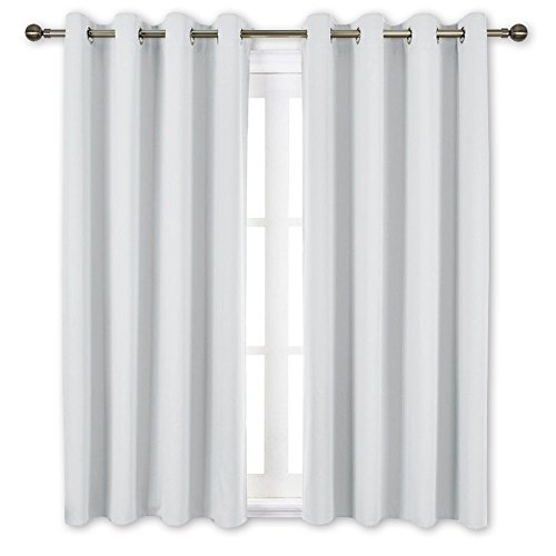 NICETOWN Greyish White Room Darkening Curtain Panels   Window Treatment Thermal Insulated Grommet Room Darkening CurtainsPanelsDrapes For Bedroom 2 Panels 52 by 63 Greyish White
