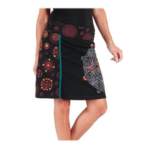 M Jupe MOON Noir ORANGE Courte de LE Broderies Jersey S Coton Imprime fPwSnpqnW