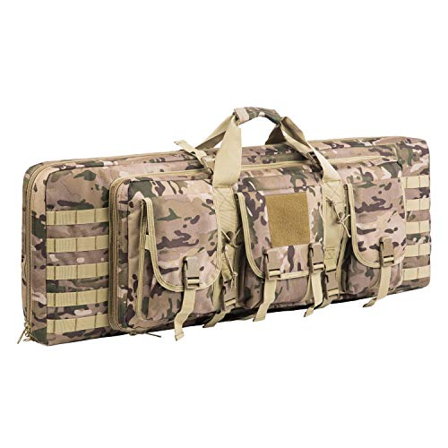 AK47/AR16 Tactical Rifle Case Double Carbine Bag Outdoor Molle Deluxe Double Rifle Gun Bag Padded Long Gun Case & Rifle Storage Backpack(2 Sizes and 6 Colors to chooese from) (Multicam, 42inch)