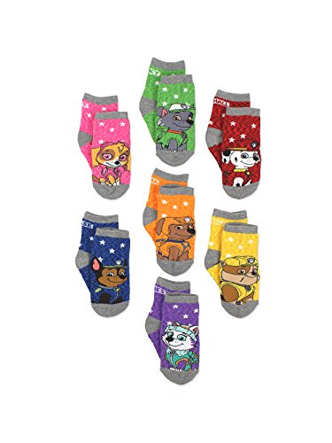 Paw Patrol Boys Girls 7 pack Socks with Grippers (2T-4T Toddler (Shoe: 4-7), Grey/Multi)
