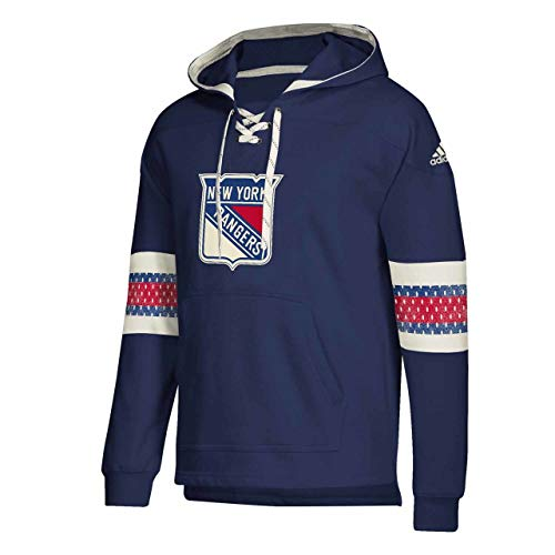 adidas New York Rangers Adult NHL Pull Over Hooded Jersey - Navy, Small