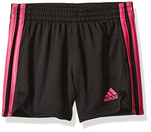 adidas Girls' Toddler Athletic Shorts, Black/BR Pink, 3T