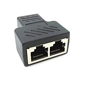 Dreamvasion® Network Adapter RJ45 Female to 2 Female Port CAT 5/CAT 6 LAN Ethernet Socket Splitter Connector Adapter