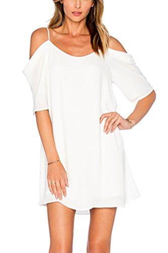 Con cuello en v profundo hueco de las mujeres túnica camisas Casual Vestido White