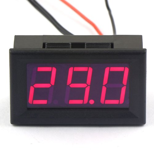 (DROK DC 12V Plug in Digital Thermometer with Temp Probe -50~110°c Temperature Detector Red LED Display Two Wires~)