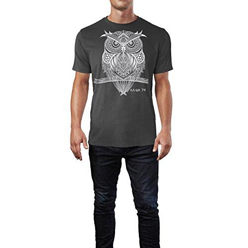 SINUS ART ® Eule auf Zweig im orientalischen Stil Herren T-Shirts in Smoke Fun Shirt mit tollen Aufdruck