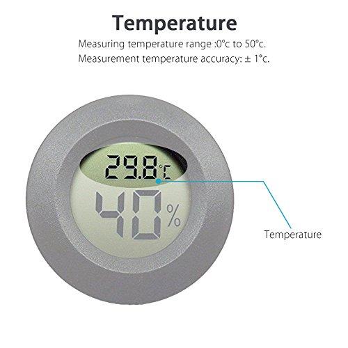 EEEkit Hygrometer Thermometer Digital LCD Monitor Indoor Outdoor Humidity Meter Gauge for Humidifiers Dehumidifiers Greenhouse Basement Babyroom, Black Round (5-pack) by EEEKit (Image #1)