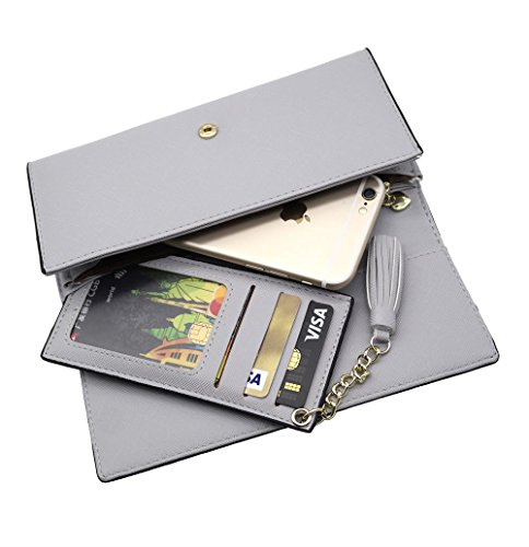 Wallets for Women, Slim Clutch Long Leather Purse Lady Checkbook Credit Card Holder with a Removable Card Slot (A-Gray) by Aiyo Fashion (Image #4)