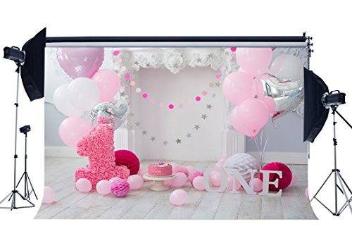 Gladbuy Vinyl 5X3FT Girl's 1st Birthday Backdrop Sweet Baby Cake Smash Backdrops Stripes Wood Floor Paper Flowers Balloons Photography Background for Princess Interior Party Photo Studio Props BL08