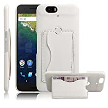 Nexus 6P Case, Premium Leather Wallet Case Cover with Stand Card Holder for Huawei Google Nexus 6P / 6 2nd Gen 2015 Phone (Bracket - White)