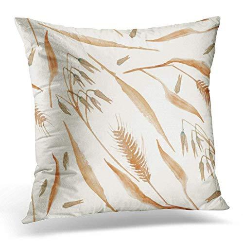 crapeddit Brown Fall Autumn Wheat Grain Cereal Botany Watercolor Beige Plant Decorative Pillow Case Home Decor Square 18 x 18 Inch Pillowcase
