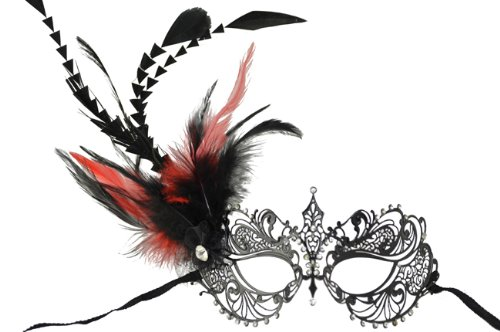 NEW Classic Venetian Intricate Design Swan Inspired Laser Cut Masquerade Mask - Elegantly Detailed and Decorated with Red and Black Feathers -