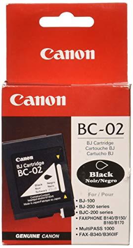2 Pack Blk Ink - Canon BC-02 BLK Ink CART BJ-200 BJ-210 BJ-240 BJ-250