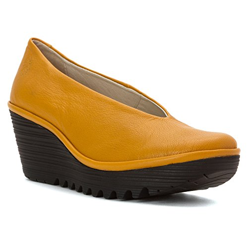 FLY London Women's Yaz Wedge Pump Saffron Mousse