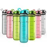 Letsfit Sports Water Bottle, BPA-Free Tritan Plastic Water Bottle with Locking Flip-Flop Lid, Leakpoof and Dustproof Cap, Carry Loop, 21oz Bottle for Outdoor Hiking Camping Travel