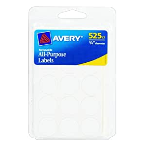 Avery Removable Round Labels, 0.75 Inch Diameter, White, Pack of 525 (6736)