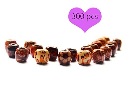 Hand Painted Wood Beads (300 pcs Big Wooden Beads, 10mm Natural Painted for Necklaces, Bracelets, Dreadlocks & Jewelry Curtains, Macrame Beads with Floral & Tribal Patterns)