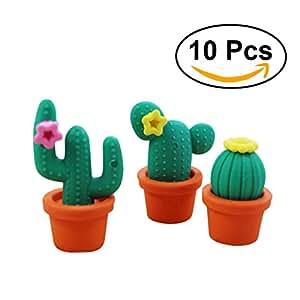 NUOLUX Pencil School Stationery Eraser Cute Cartoon Cactus Style (Random Color) - 10 Pieces
