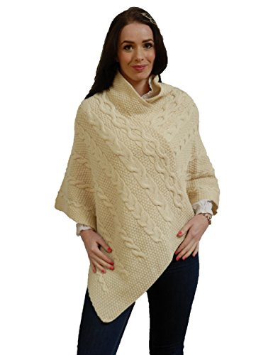 Kerry Woollen Mills Women's Aran Wool Poncho Natural Made in Ireland