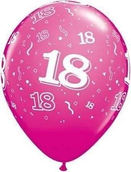 Globos 18 Cumpleaños de Qualatex Rosa x 5 - 28cm: Amazon.es ...