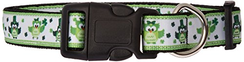 Mirage Pet Products 125-256 LG St. Patty's Day Party Owls Nylon Dog Collar, Large ()