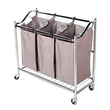StorageManiac 3-Section Heavy-Duty Steel Rolling Laundry Sorter with Coating Frame