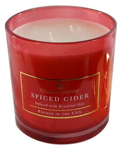 Colonial Candles Spiced Cider 14 oz. Scented Candle in Glass Jar (Scented Cider Glass)