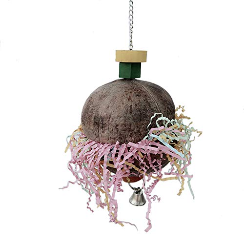 PIVBY Bird Shredder Toy Foraging Star Parrot Cage Hanging Toys with Coconut for African Grey Macaws Cockatoos -
