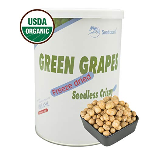 Seabiscuit Healthy Snacks - Freeze Dried Whole White Seedless Grapes Astronaut Food, Organic Crispy Delicious Fruit, Natural Flavor 4.22 oz Cans
