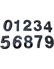 FLAMEER 10 stuks brievenbussen cijfers 3D 0-9 stickers cijfers adreslabels huisdeur nummers voor buitenborden - zwart